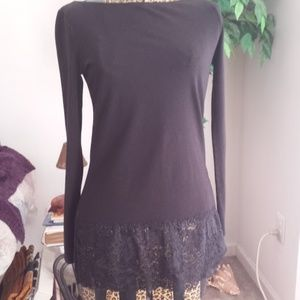 White House Black Market Lace Trimmed Tunic